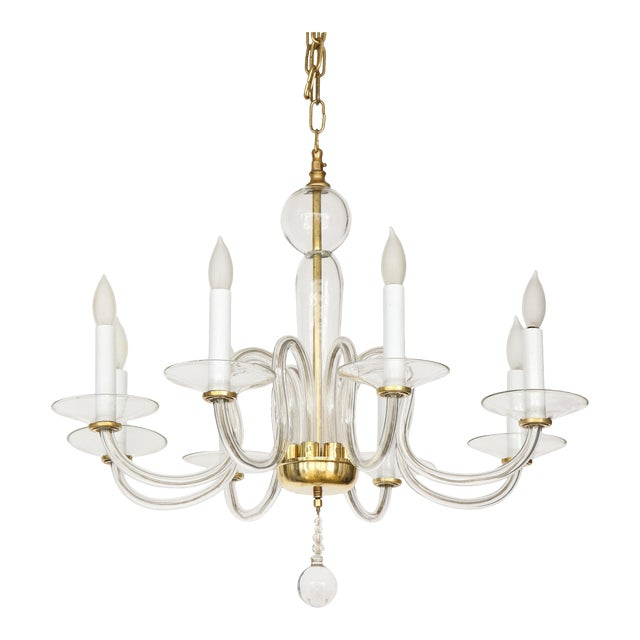 1960s Murano Glass Eight Arm Chandelier For Sale