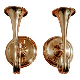 Unique Brass Trumpet Taper Wall Candle Holders- a Pair For Sale