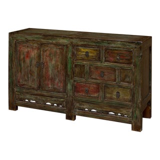 Vintage Chinese Mandarin Solid Elm Wood Multicolor Distressed Finish Cabinet For Sale