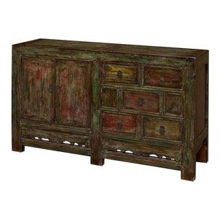 Vintage Chinese Mandarin Solid Elm Wood Multicolor Distressed Finish Cabinet