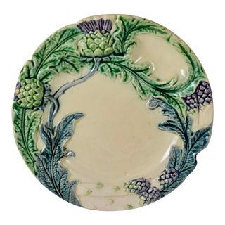 Fives-Lille Majolica Artichoke & Asparagus Plate, Circa 1890 For Sale
