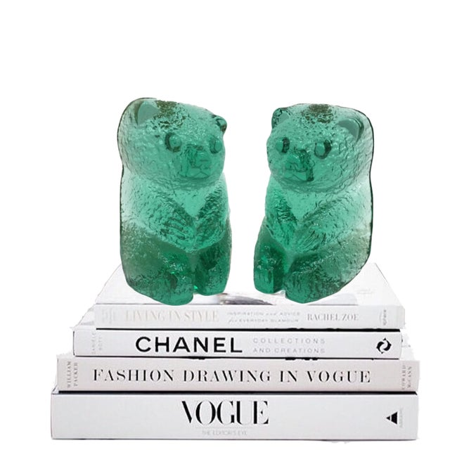 Vintage Blenko Glass Mint Green Bear Sculptures/Bookends - a Pair For Sale In Richmond - Image 6 of 12