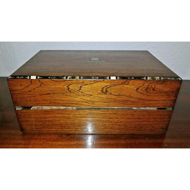 Early 19c Irish Mahogany Writing Slope With Armorial Crest For Sale - Image 9 of 13