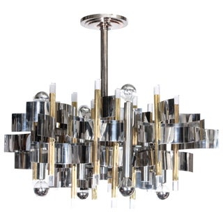 Gaetano Sciolari Mid-Century Modern Two-Tone Twelve-Light Chandelier For Sale