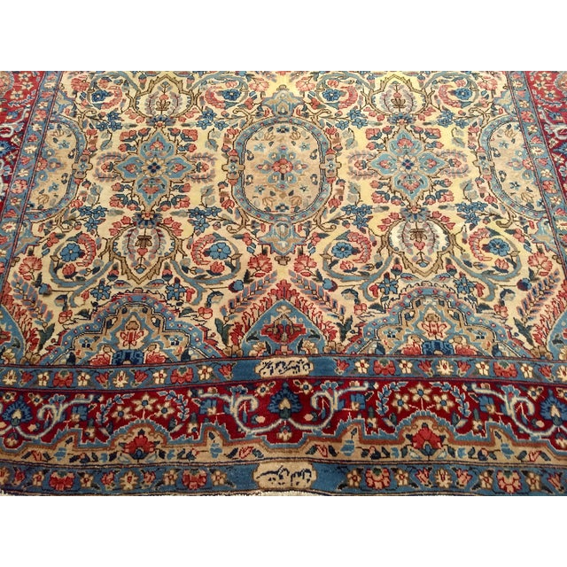 Textile Antique Yazd Persian Carpet - 6′6″ × 9′7″ For Sale - Image 7 of 10