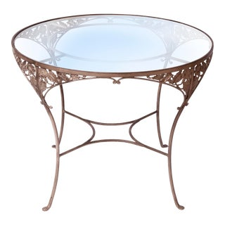 1940s Vintage Hand Wrought Iron Cafe Table For Sale