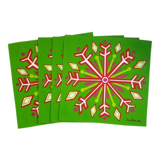 Jonathan Adler Holiday Snowflake Pop Art Reversible Placemats - Set of 4 For Sale
