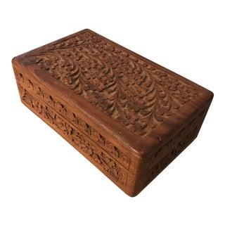 Floral Carved Wooden Box