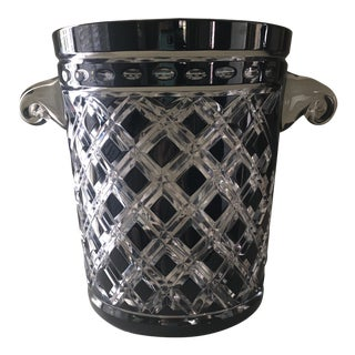 Vintage Ebony Cut to Clear Crystal Ice Bucket For Sale