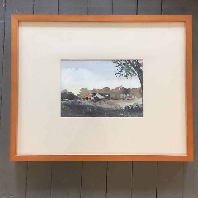 Watercolor Vintage Original Watercolor Landscape W/ Cows Painting For Sale - Image 7 of 7
