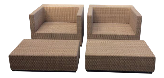 Dedon Lounge Armchairs With Footstools   A Pair