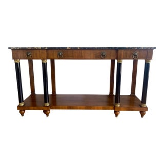 John Widdicomb Neoclassical Marble Top Console Table For Sale
