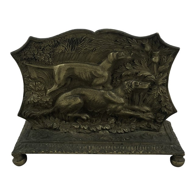 1900s Traditional Brass Hunting Dogs Letter Catcher For Sale