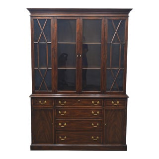 Henkel Harris Mahogany Breakfront China Cabinet For Sale
