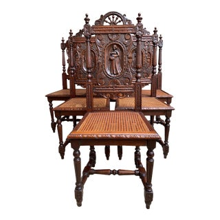 Set 6 Antique French Carved Oak Breton Dining Chairs Brittany Cane Seat For Sale