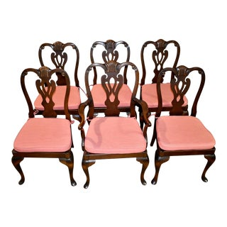 Vintage Set of Six Queen Anne Style Dining Chairs For Sale