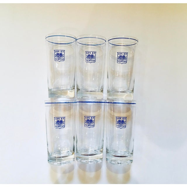 Glass Vintage Yale Barware Yale Memorabilia Cocktail Glasses Lux Et Veritas Blue Shield, Set of 6 For Sale - Image 7 of 7