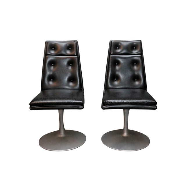 Mid-Century Swivel Black Leather Chrome Chairs- A Pair For Sale - Image 4 of 8
