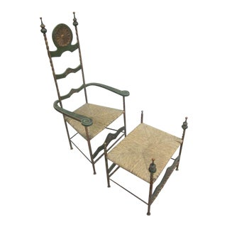 Italian Throne Armchair with Footstool/Ottoman