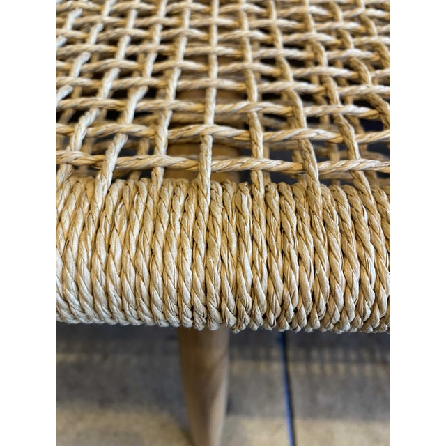 Woven Cord and Teak Bench For Sale - Image 9 of 10