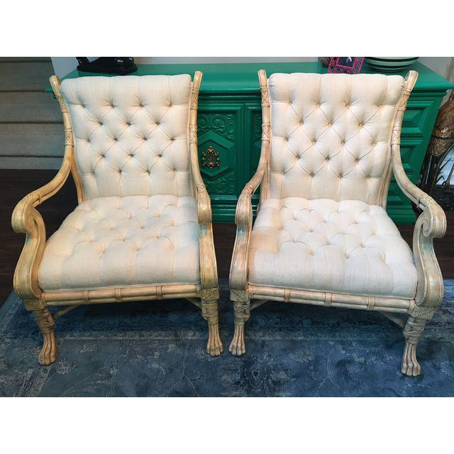 Maitland Smith Bamboo Claw Foot Chairs - Pair - Image 9 of 9