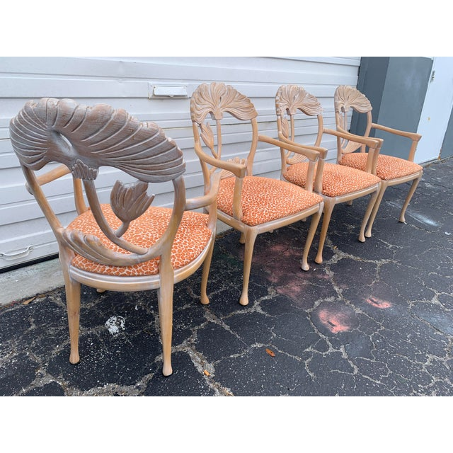 1970s Vintage Lime Wash Floral Carved Dining Chairs in the Manner of Phyllis Morris - Set of Four For Sale In Miami - Image 6 of 10