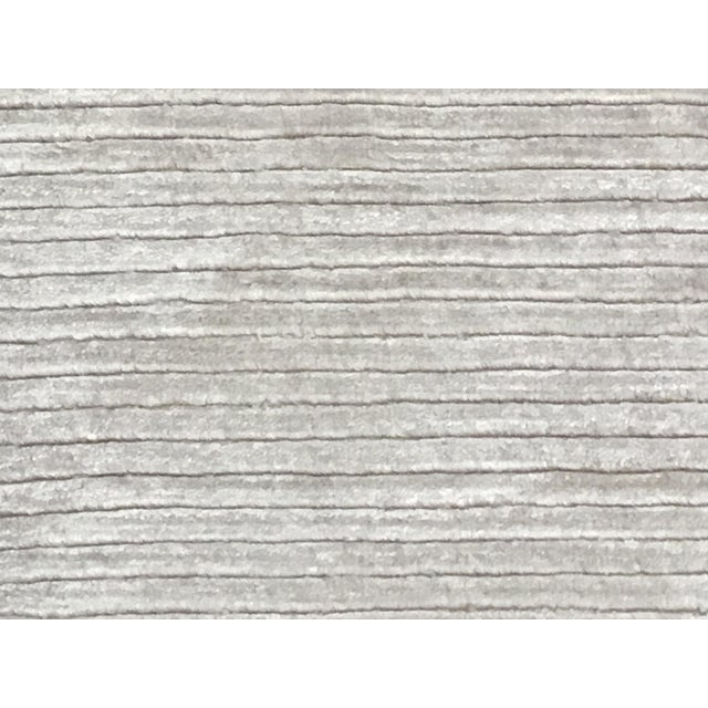 """Contemporary Tone on Tone Striped Rug White (10'x13'6"""") For Sale"""