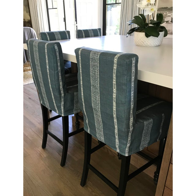 Black Oak Counterstool With Carolina Irving Patmos Stripe Reverse Slipcovers - Set of 4 For Sale - Image 11 of 13