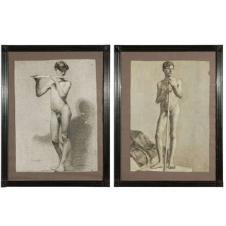 Pair of Charcoal Italian Male Nude Drawings From 1880 For Sale