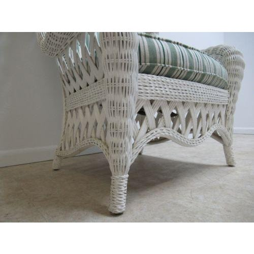 White Vintage Custom Wicker Patio Porch Living Room Lounge Chair For Sale - Image 8 of 13