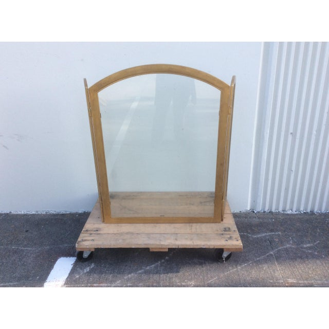 1980s Beautiful Gilt Metal and Glass Fire Screen For Sale - Image 5 of 9