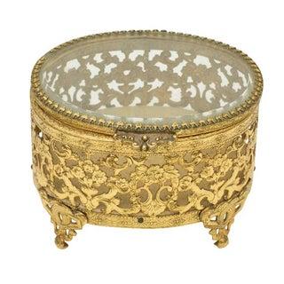 Vintage Brass & Glass Oval Keepsake Box