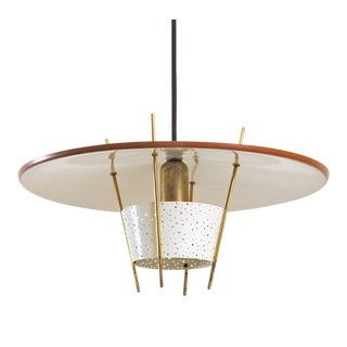 Perforated Metal and Brass Pendant by Ernest Igl, 1950