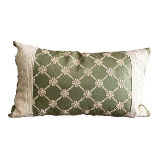 Transitional Green Pillow W/ Natural Embroidered Flower Lattice For Sale