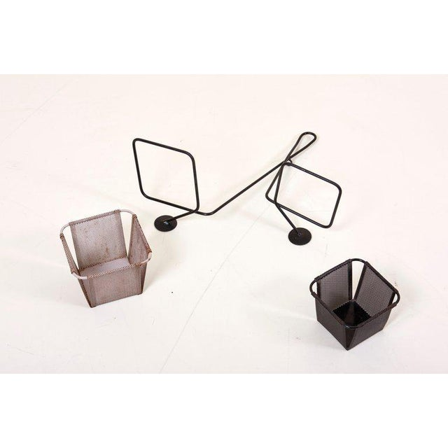 1950s Mathieu Matégot Black and Grey Lacquered Metal Wall Planter Holder, Circa 1950 For Sale - Image 5 of 10