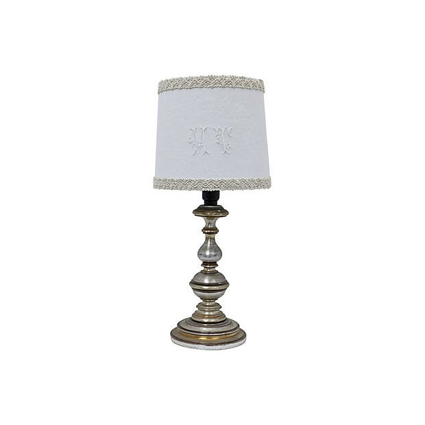 "Late 19th Century Antique French Damask ""M T"" Monogram lampshade For Sale - Image 5 of 5"