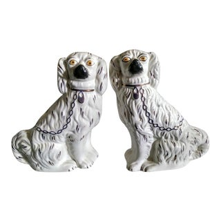 A Pair Old England Staffordshire Ware Antique Staffordshire Dog Ceramic Statues For Sale