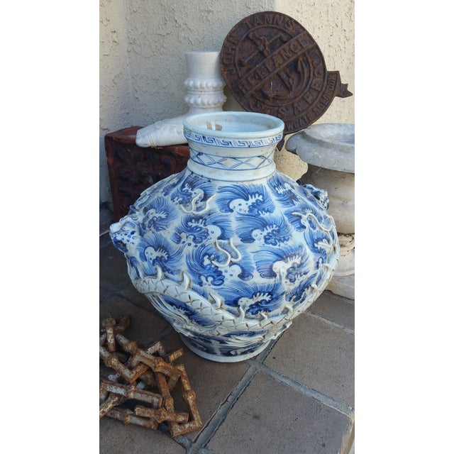 Vintage Glazed Dragon Relief Vase For Sale - Image 5 of 5