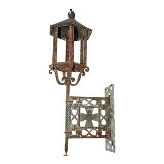 Large Scale Pair of Wrought Iron Wall Lights, French circa 1800 For Sale