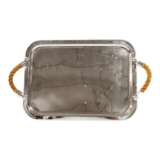 Nickel Tray With Rope Handles For Sale