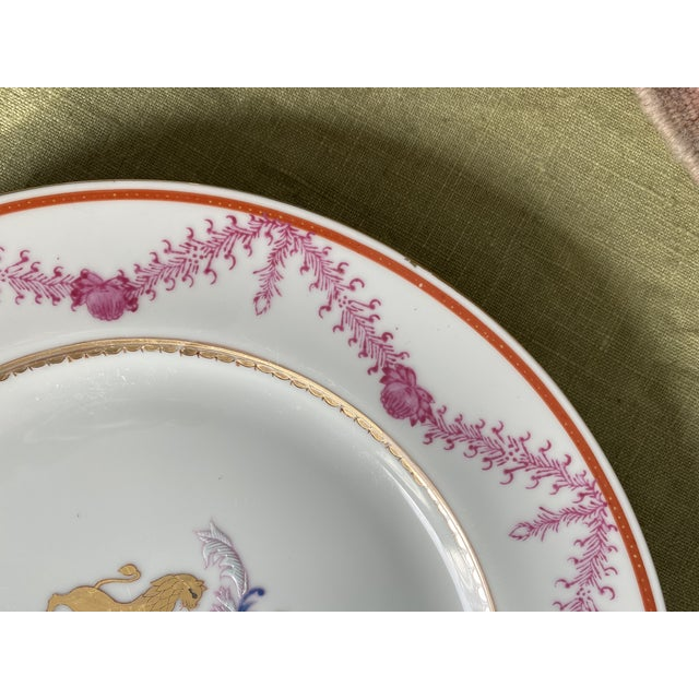 Ceramic Antique Corsican French-Italian Coat of Arms Sola Virtue Invest Plates - a Pair For Sale - Image 7 of 10