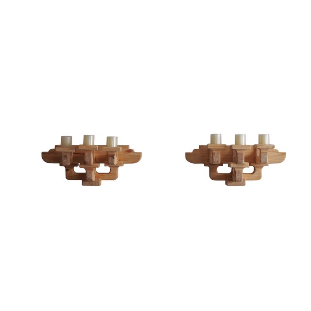 Pine Chinese Style 3-Candle Wooden Sconces - a Pair For Sale - Image 7 of 7