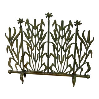 20th Century Art Deco Green Metal Fireplace Screen For Sale