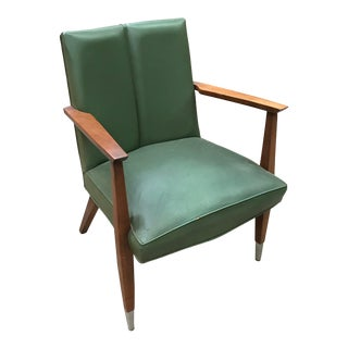 1960s Mid Century V Back Walnut Armchair For Sale