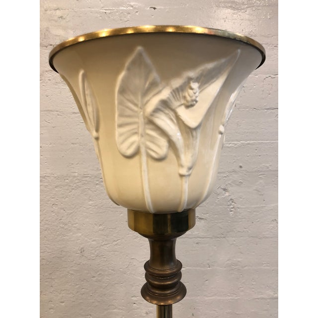 1940s Brass Floor Lamp with a Floral Porcelain Shade. The porcelain shade has brass trim.