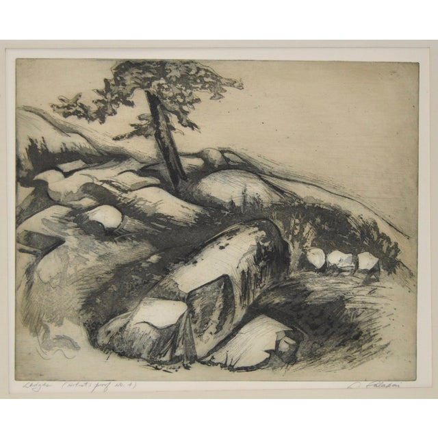 Title: Ledges Artist: Letterio Calapai (American) Medium: Etching with Aquatint Date: Circa 1970 This is a rare etching...