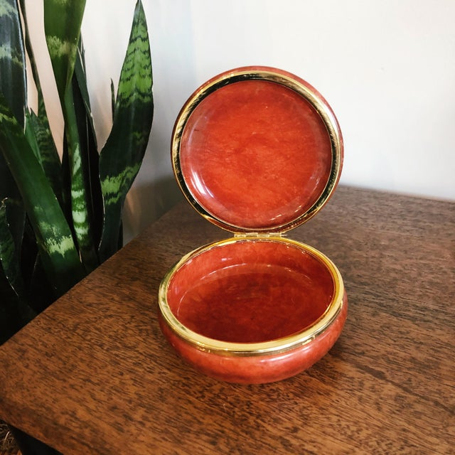 "Vintage reddish orange alabaster box; hand carved in Italy. Marked on the base ""Genuine Alabaster. Hand-Carved. Made in..."