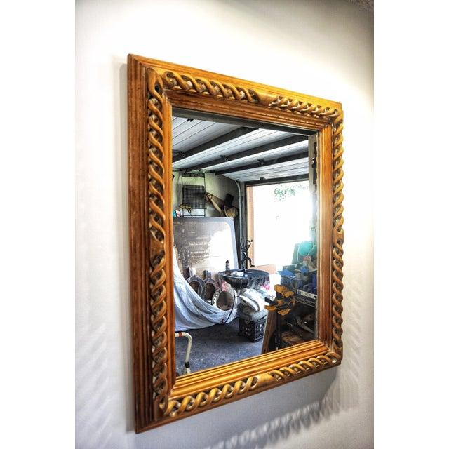 Mid 20th Century Vintage Mid-Century English Carved Walnut Barley Twist Mirror For Sale - Image 5 of 13