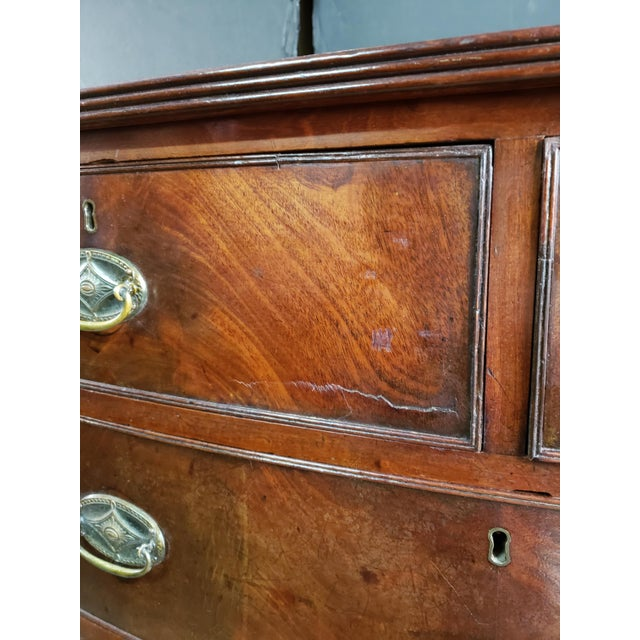 Georgian English Mahogany 2 Over 3 Bow Front Chest on Bracket Feet For Sale - Image 11 of 13