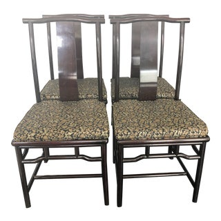 Late 20th Century Vintage Chinoiserie Dining Chairs- Set of 4 For Sale